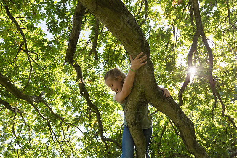Adventurous young girl smiling while climbing a tree by Kirsty Begg for Stocksy United