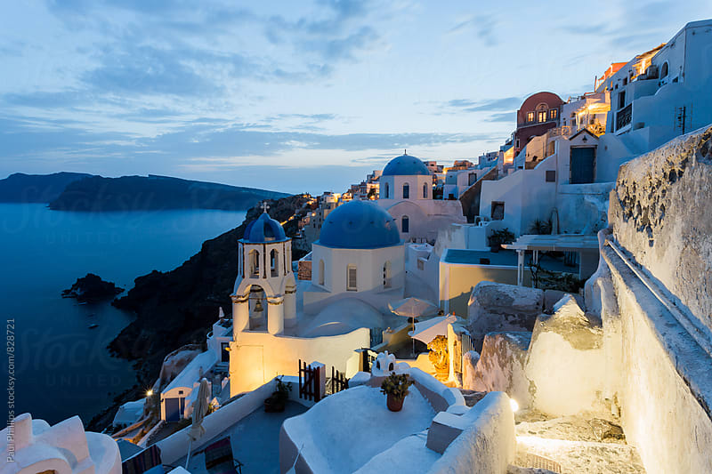 Oia on the Greek island of Santorini at dusk towards the calderon. by Paul Phillips for Stocksy United