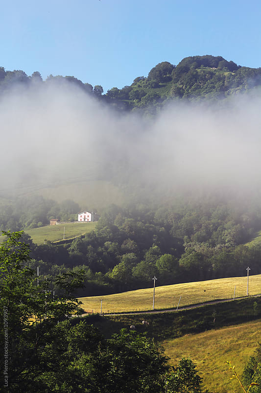 Morning mist in a valley in the Pyrenees by Luca Pierro for Stocksy United