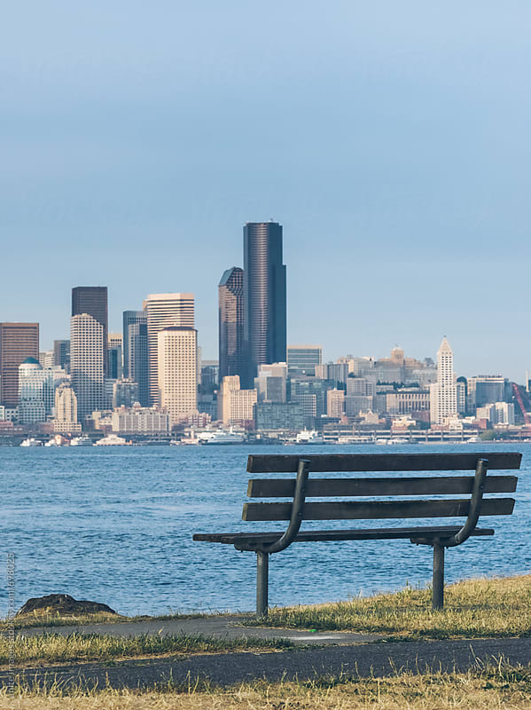 empty garden bench of Alki Beach, Seattle by unite images for Stocksy United