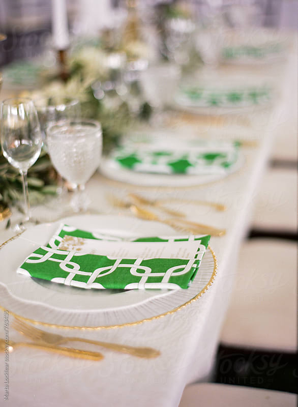 Green & Gold Wedding Table Setting by Marta Locklear for Stocksy United