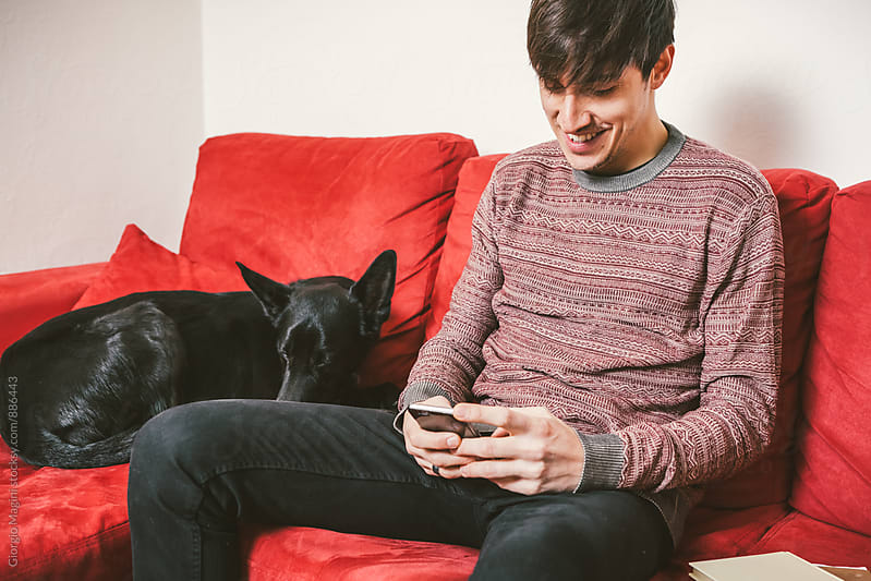 Young Man with Dog Texting on a Sofa at Home by Giorgio Magini for Stocksy United