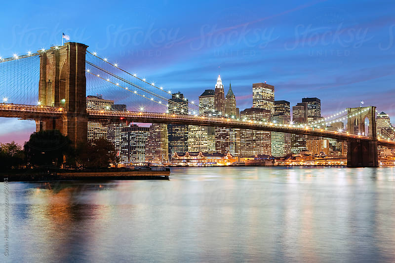 USA, New York City, Manhattan,  The Brooklyn Bridge spanning the East River between Brooklyn and Manhanttan by Gavin Hellier for Stocksy United