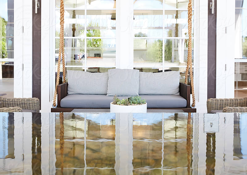 Outdoor reception area at luxury resort by Trinette Reed for Stocksy United