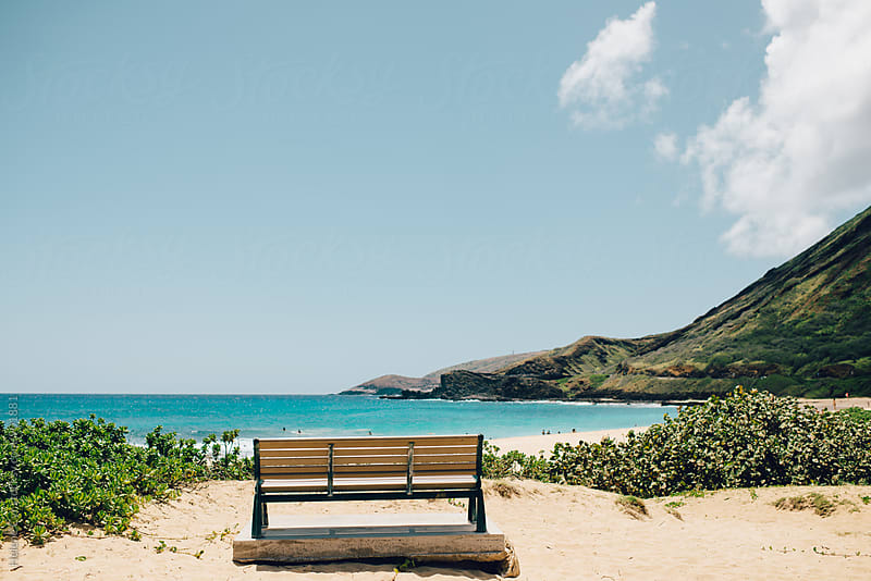 Bench on Sandy's Beach, Oahu, HI by Helene Cyr for Stocksy United