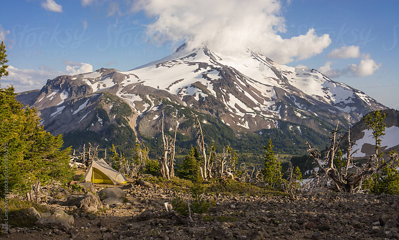 Tent in front of Mt Jefferson by Isaac Lane Koval for Stocksy United
