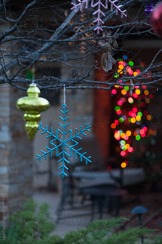 Brightly Colored Ornaments Hang From A Tree  by Leigh Love for Stocksy United