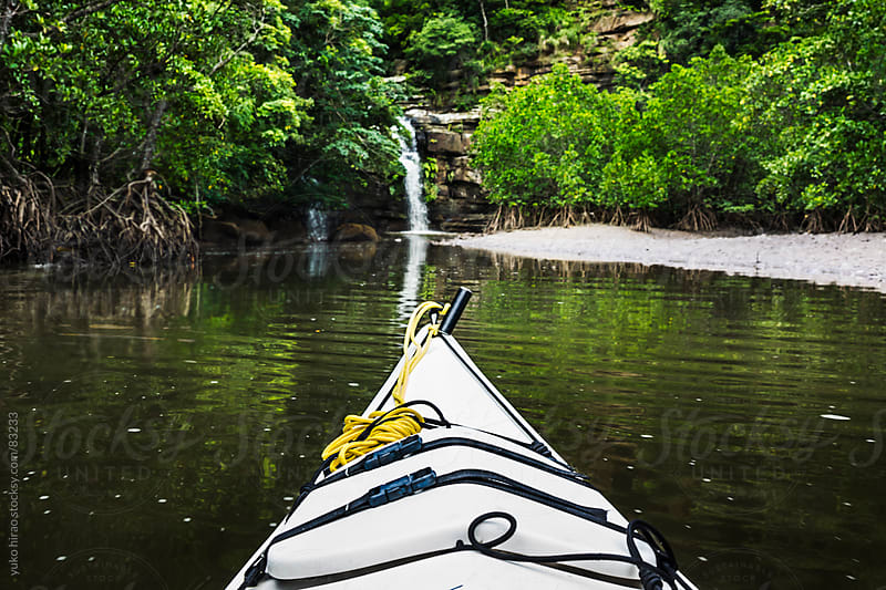 River kayaking to waterfall in mangroves in Iriomote Island  by yuko hirao for Stocksy United