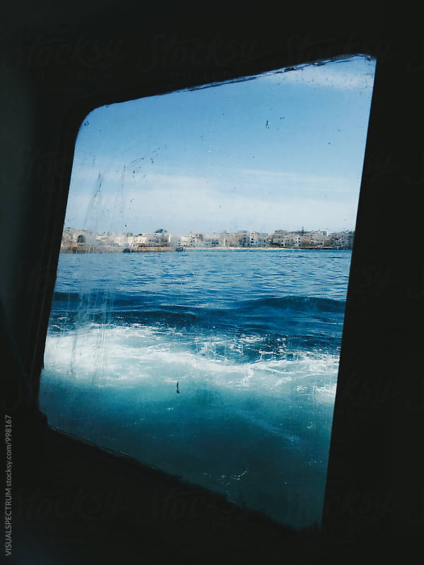 Italian Seaside Through Dirty Boat Window by Julien L. Balmer for Stocksy United