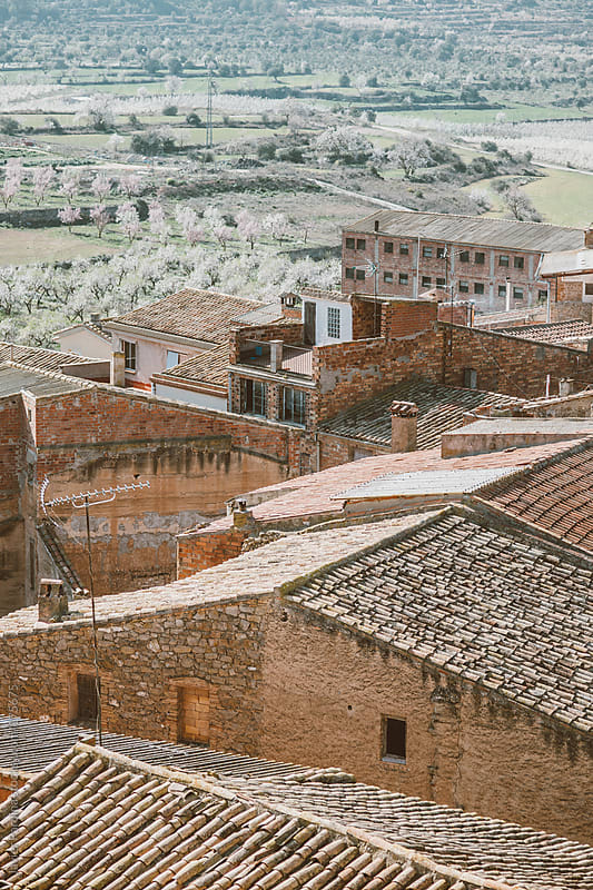 Aerial view of the village houses by Javier Pardina for Stocksy United