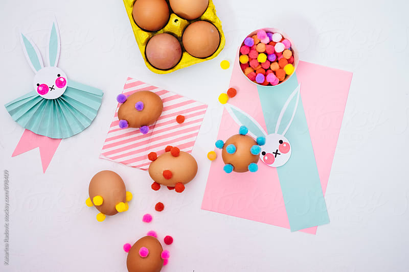 Colourful and Pastel Easter Eggs Decorated With Pompons by Katarina Radovic for Stocksy United