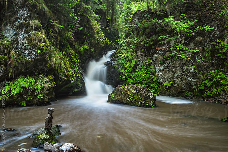 Small Waterfall in the German Black Forest by Andreas Wonisch for Stocksy United