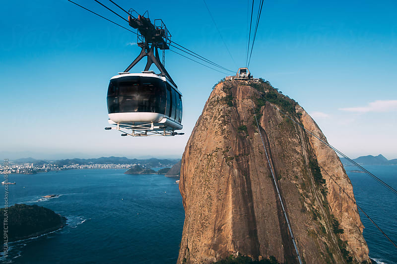 Close Up of Rio de Janeiro's Sugarloaf Cable Car with Sugarloaf by Julien L. Balmer for Stocksy United
