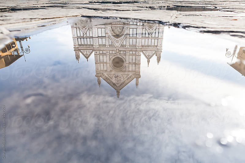 Santa Croce Church in Florence Reflected in a Puddle by Giorgio Magini for Stocksy United