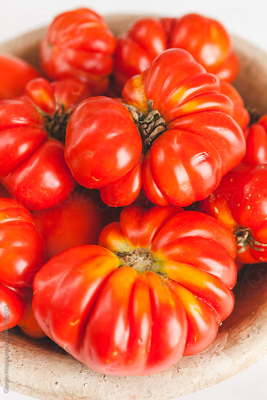 Fresh Florentine Ribbed Tomatoes Closeup, Costoluto Fiorentino by Giorgio Magini for Stocksy United