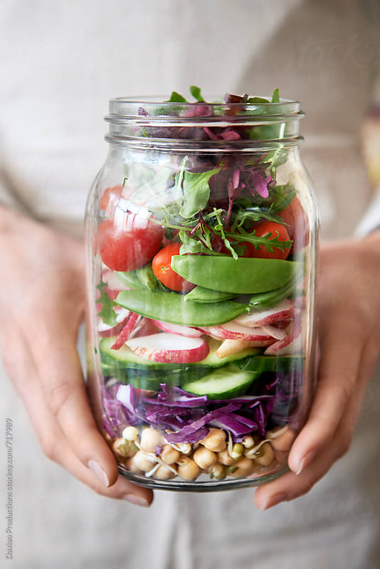 fresh colorful salad in a mason jar by Daxiao Productions for Stocksy United