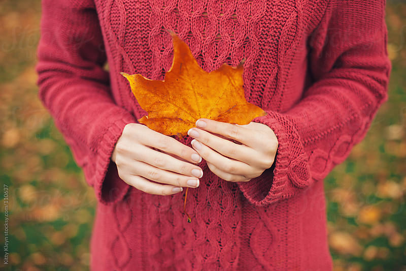 Holding a piece of Autumn by Kitty Kleyn for Stocksy United