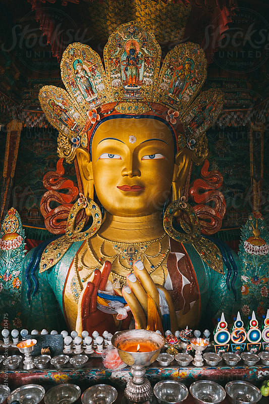 Maitreya Buddha inside Thikse Monastery by David Navais for Stocksy United