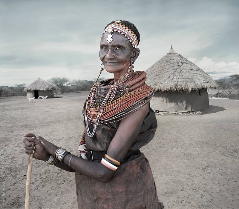Portrait of senior Samburu Tribeswoman. Kenya. by Hugh Sitton for Stocksy United