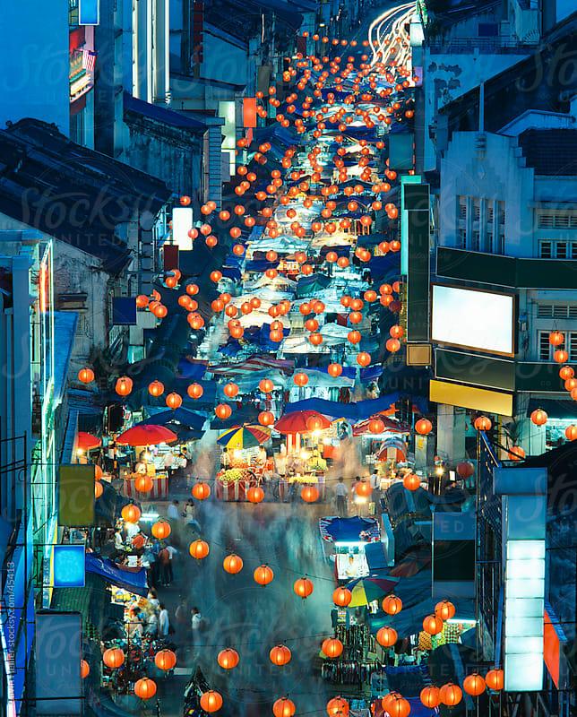 Chinatown night market, Petaling Street, Chinatown, Kuala Lumpur, Malaysia, Southeast Asia by Gavin Hellier for Stocksy United