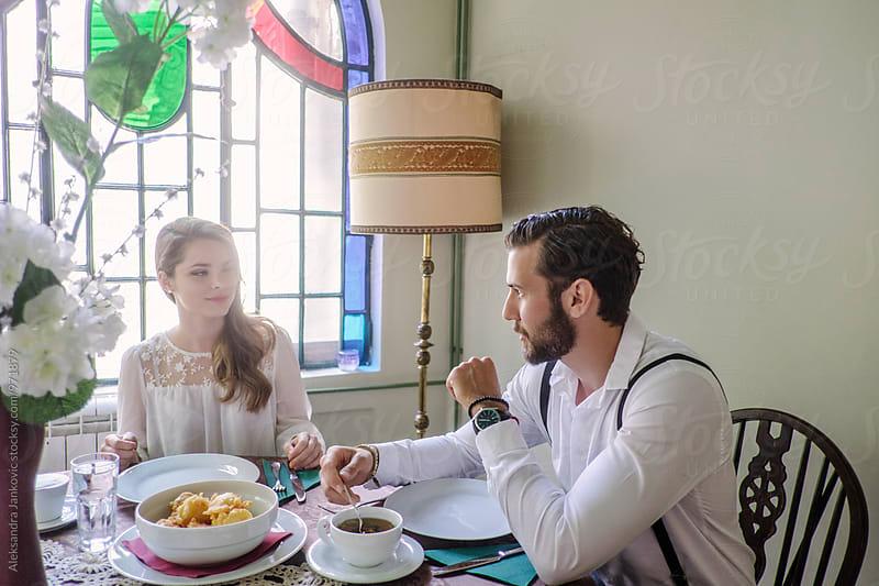 Couple Having Breakfast in the Morning by Aleksandra Jankovic for Stocksy United