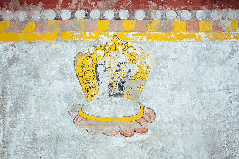 buddhism painting on the wall in Tibet by zheng long for Stocksy United