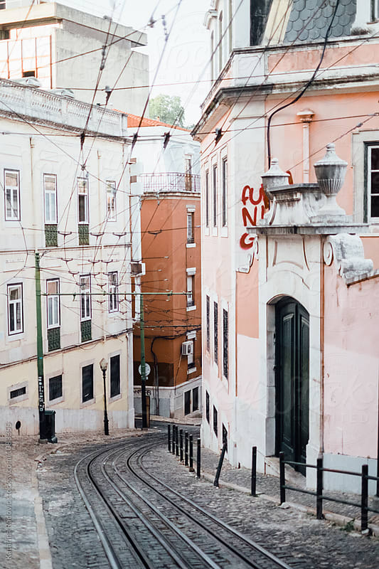 Beautiful and Pastel Lisbon Street by Katarina Radovic for Stocksy United