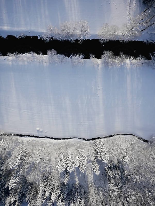 aerial view winter river by rolfo for Stocksy United