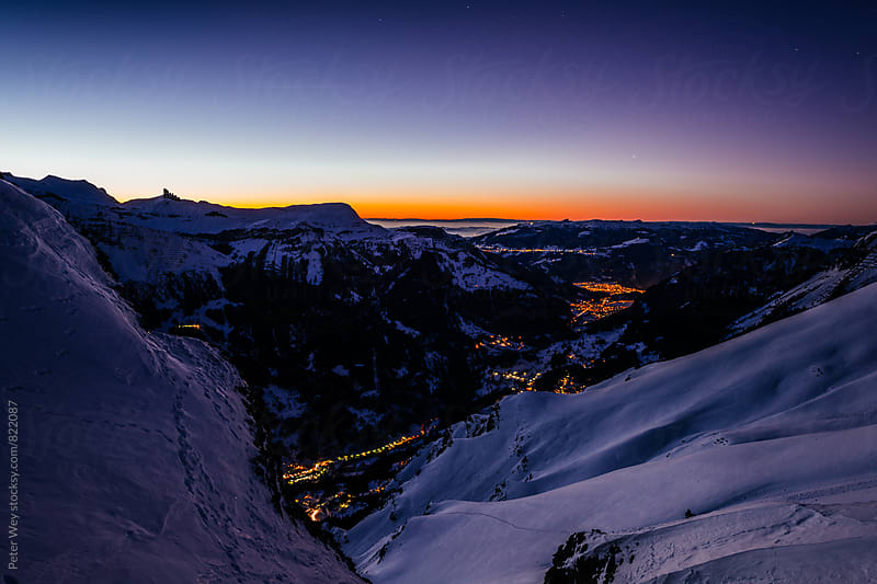 Sunset panorama from Lauberhor by Peter Wey for Stocksy United