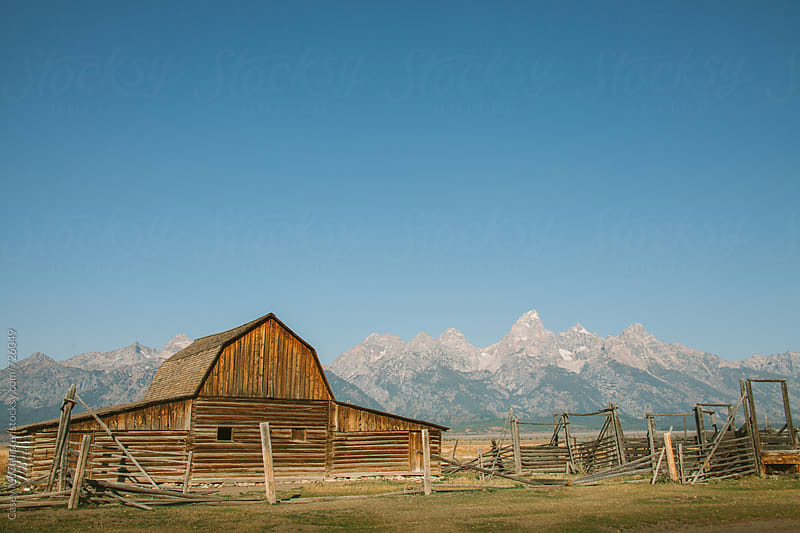 Barn and Tetons by Casey McCallister for Stocksy United