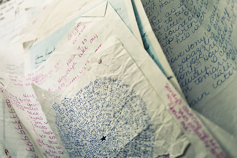 Handwritten notes from the 80's by Carolyn Lagattuta for Stocksy United