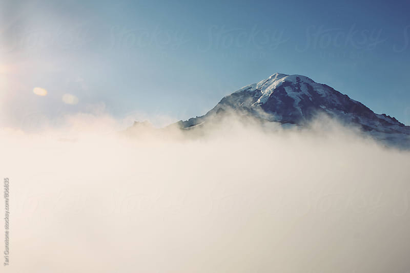 Mountain rising above sunlit fog by Tari Gunstone for Stocksy United