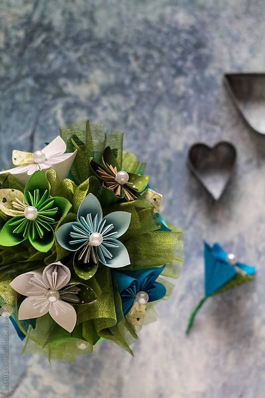 Paper flower bouquet by Babett Lupaneszku for Stocksy United