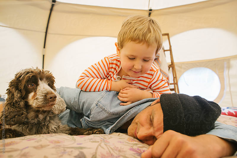 Glamping - Caucasian Father and Son With Cocker Spaniel on Bed Inside Large Circular Tent by VISUALSPECTRUM for Stocksy United
