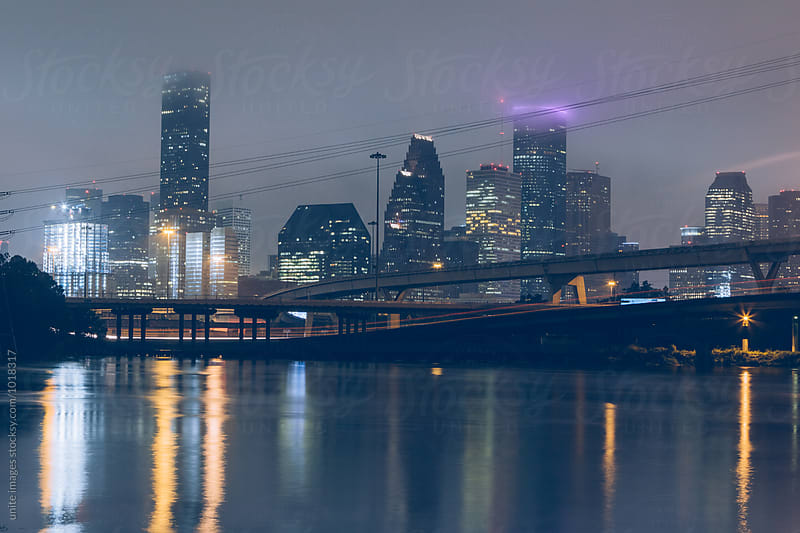 night view of Houston by unite  images for Stocksy United