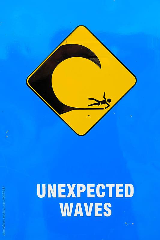 King wave warning sign. Western Australia. by John White for Stocksy United