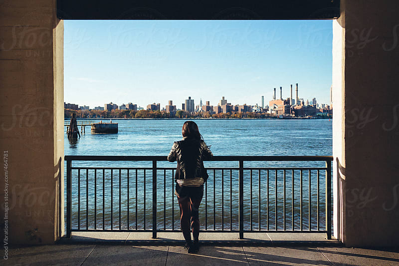 Woman enjoying the view of Manhattan, New York City by Good Vibrations Images for Stocksy United