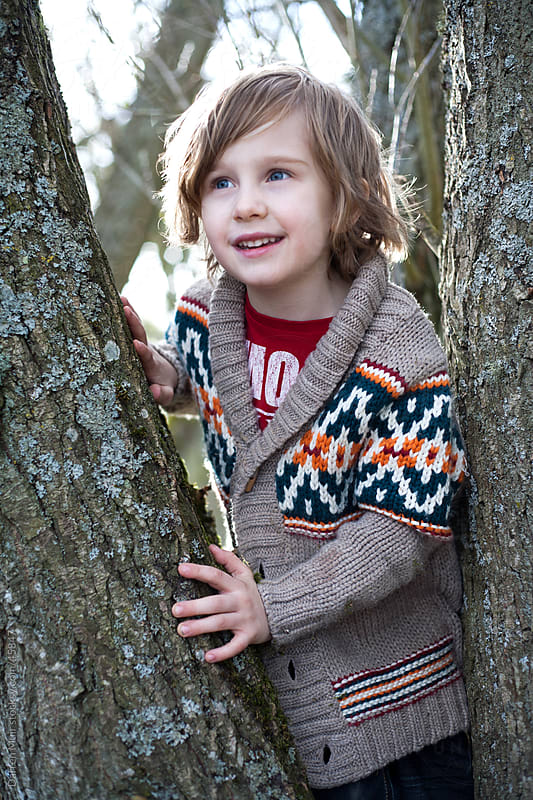 young boy climbing tree. by Darren Muir for Stocksy United
