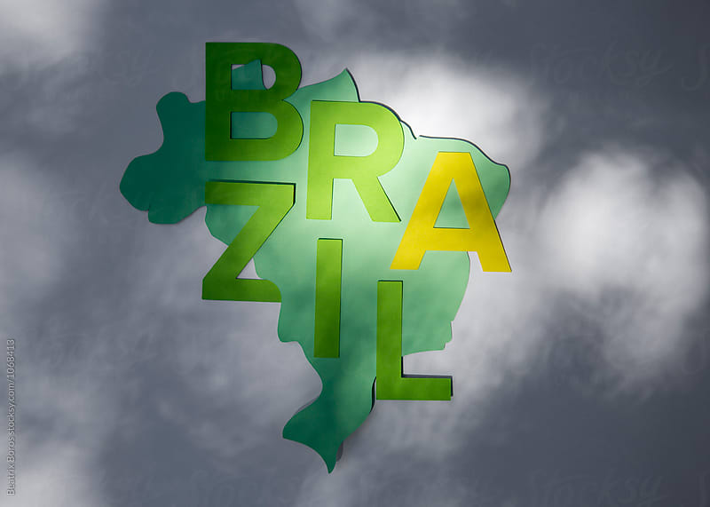 Brazilian country shape with letters in light and shadow by Beatrix Boros for Stocksy United