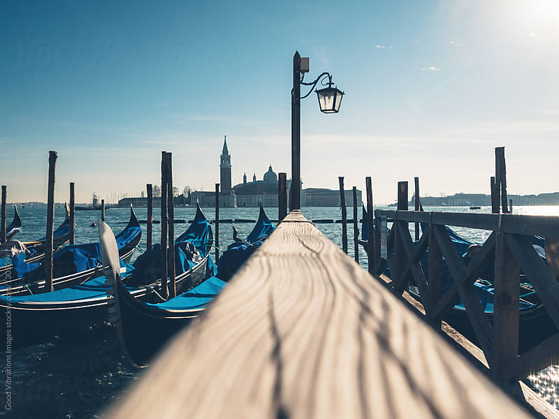 Venice, Gondolas and Blue Sky by Good Vibrations Images for Stocksy United