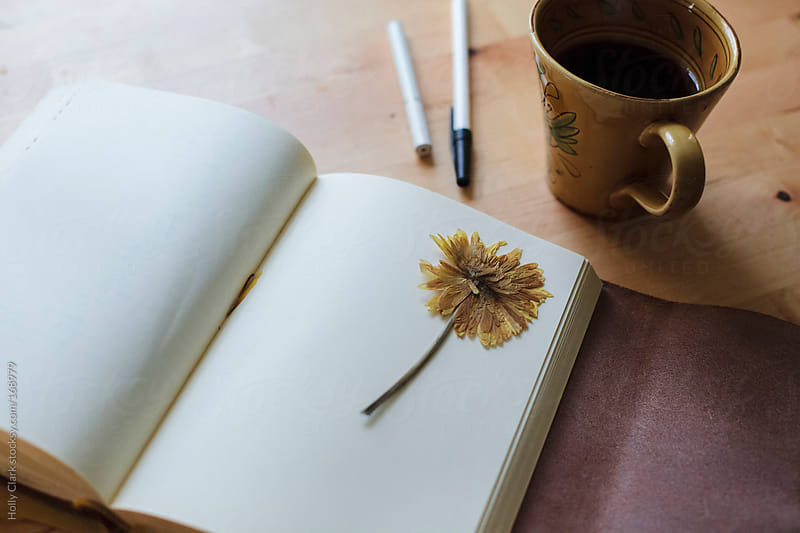 A blank journal lies open on a table next to a cup of coffee, a  by Holly Clark for Stocksy United
