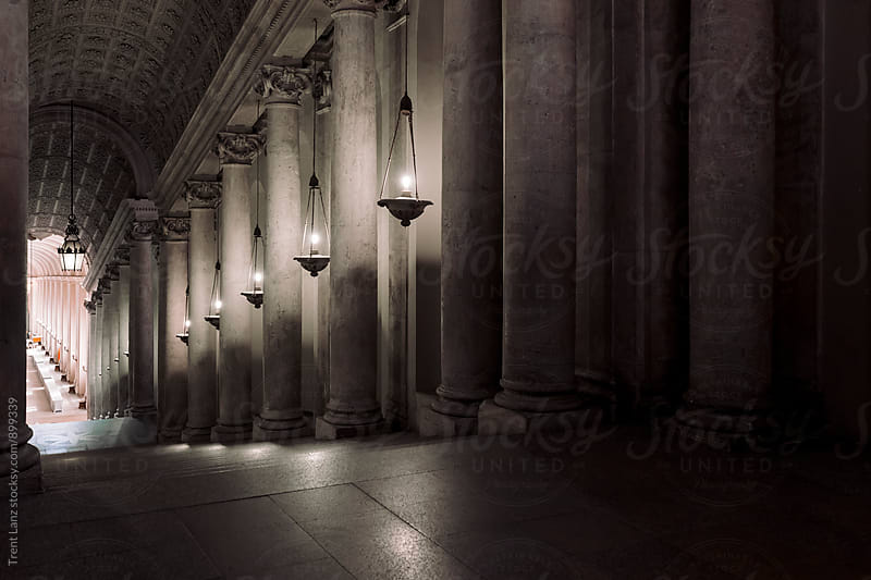 Ornate basilica hall interior with marble columns  by Trent Lanz for Stocksy United