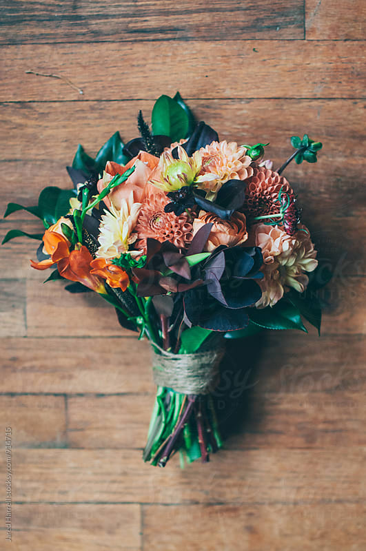 Wedding Floral Bouquet on Wooden Floor of Cabin by Jared Harrell for Stocksy United
