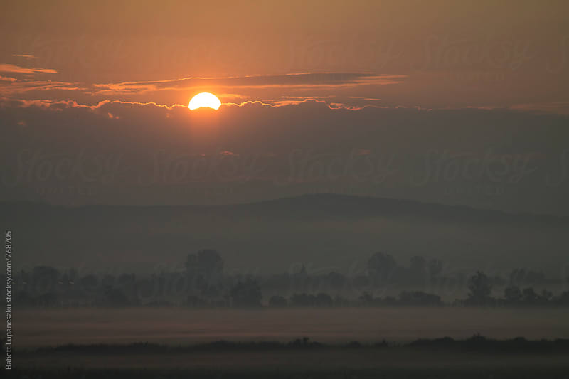 Sunrise in the fog by Babett Lupaneszku for Stocksy United