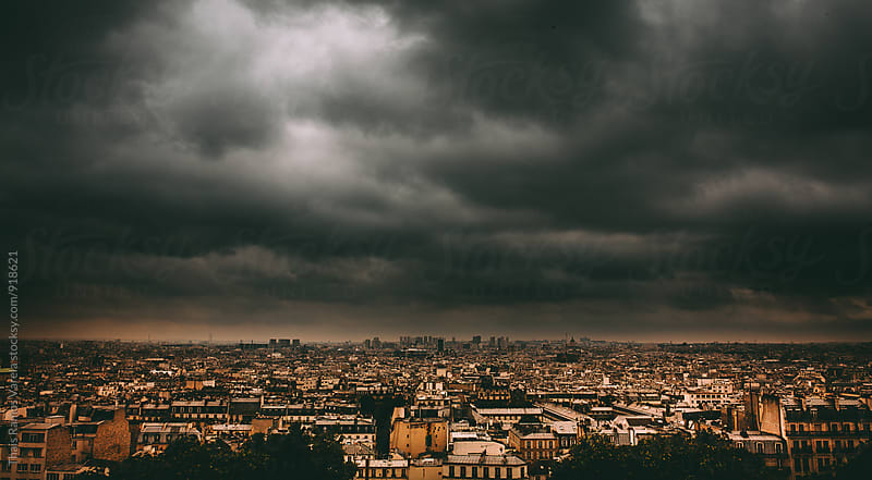 Cloudy landscape of Paris, France by Thais Ramos Varela for Stocksy United