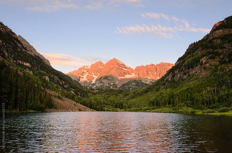 Sunrise over the Maroon Bells, Aspen, Colorado by Julie Rideout for Stocksy United