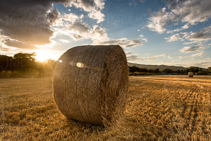 Straw bales below a cloudy sky at sunset by Bisual Studio for Stocksy United