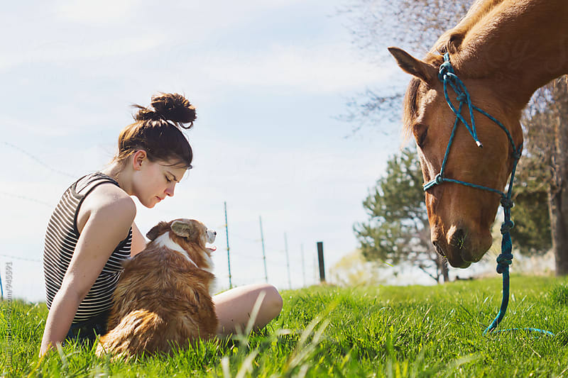 young woman sits in grass with dog and horse by Tana Teel for Stocksy United