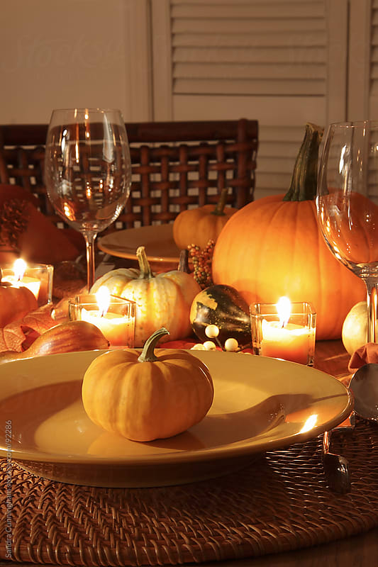 Closeup of place settings for Thanksgiving by Sandra Cunningham for Stocksy United