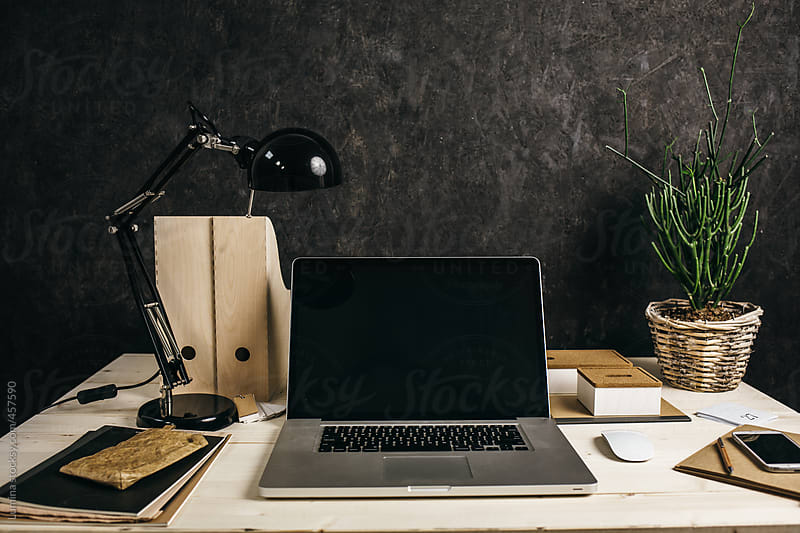 Laptop On A Wooden Business Desk By Lumina For Stocksy United